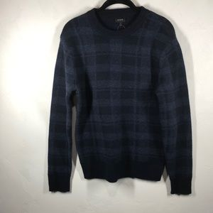 J.Crew blue plaid Merino wool blend sweater small